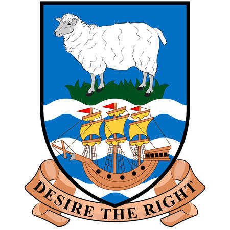 Coat of arms of Falkland Islands is an archipelago in the South Atlantic Ocean on the Patagonian Shelf. Vector illustration Banque d'images - 131709908