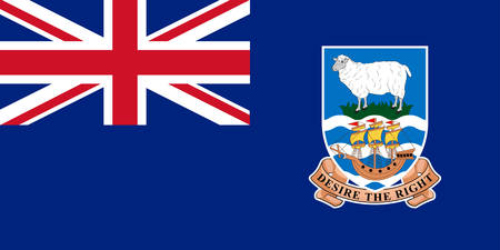 Flag of Falkland Islands is an archipelago in the South Atlantic Ocean on the Patagonian Shelf. Vector illustration Banque d'images - 131710159
