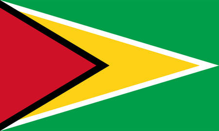 Flag of Co-operative Republic of Guyana is a country on the northern mainland of South America. Vector illustration Banque d'images - 131712043
