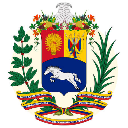 Coat of arms of Bolivarian Republic of Venezuela is a country on the northern coast of South America, consisting of a continental landmass and a large number of small islands and islets in the Caribbean Sea. Vector illustration 向量圖像