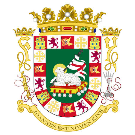Coat of arms of Puerto Rico is an unincorporated territory of the United States located in the northeast Caribbean Sea. Vector illustration Banque d'images - 131711072