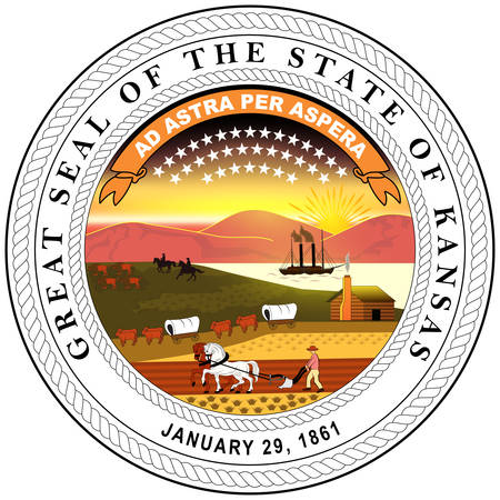 Coat of arms of Kansas is a U.S. state in the Midwestern United States. Vector illustration