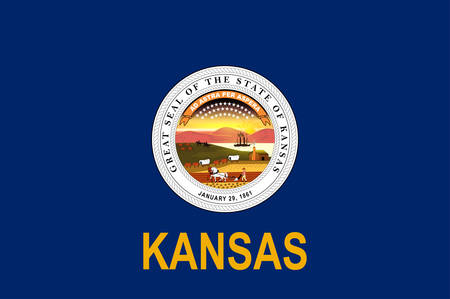 Flag of Kansas is a U.S. state in the Midwestern United States. Vector illustration Standard-Bild - 131710127