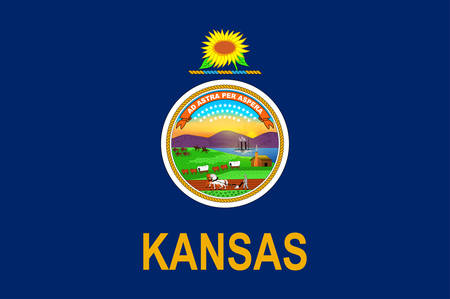 Flag of Kansas is a U.S. state in the Midwestern United States. Vector illustration Banque d'images - 131710193
