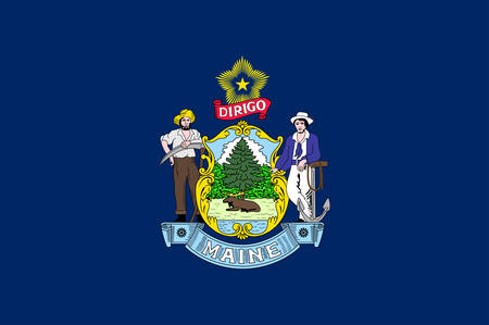 Flag of Maine is the northernmost state in the New England region of the northeastern United States. Vector illustration