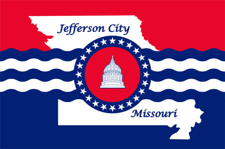 Flag of City of Jefferson and informally Jeff City, is the capital of the U.S. state of Missouri and the 15th most populous city in the state. Vector illustration