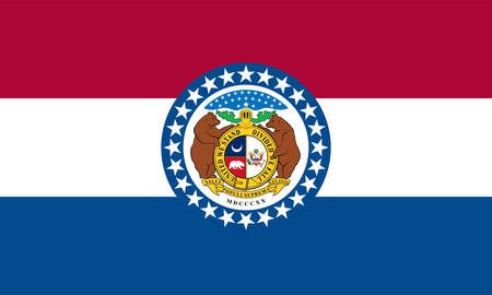 Flag of Missouri is a state in the Midwestern United States. The largest urban areas are St. Louis, Kansas City, Springfield, and Columbia; the capital is Jefferson City. Vector illustration