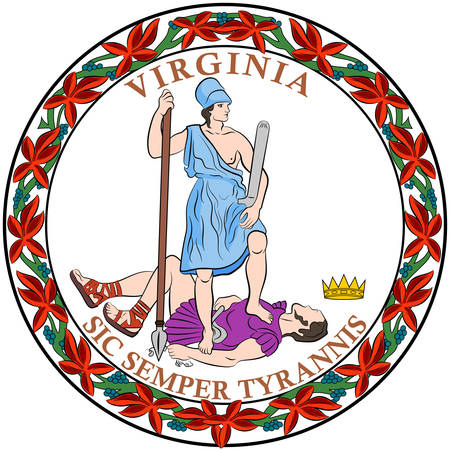 Coat of arms of Commonwealth of Virginia is a state in the Southeastern and Mid-Atlantic regions of the United States. Vector illustration Illustration