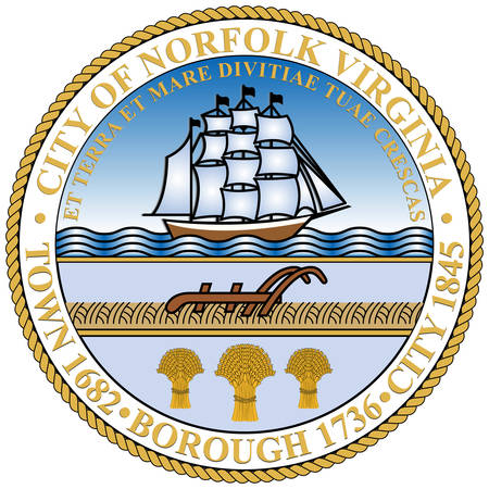 Coat of arms of Norfolk is an independent city in the Commonwealth of Virginia in the United States. Vector illustration