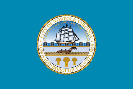 Flag of Norfolk is an independent city in the Commonwealth of Virginia in the United States. Vector illustration 向量圖像