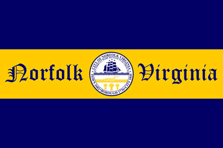 Flag of Norfolk is an independent city in the Commonwealth of Virginia in the United States. Vector illustration Ilustração
