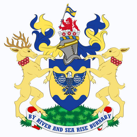 Coat of arms is a city in British Columbia, Canada, located immediately to the east of Vancouver. Vector illustration
