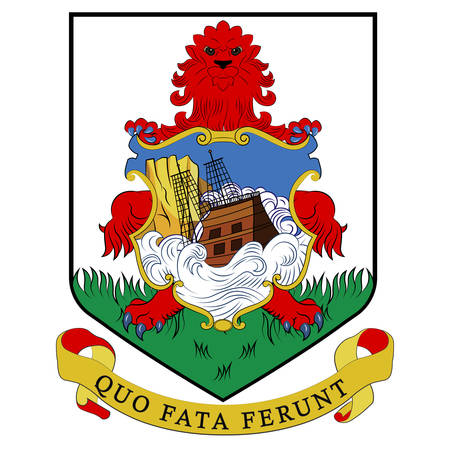 Coat of arms of Islands of Bermuda is a British Overseas Territory in the North Atlantic Ocean. Vector illustration Banque d'images - 134948262
