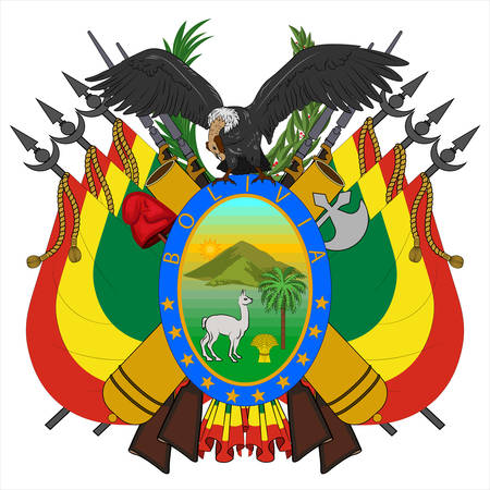 Coat of arms of Plurinational State of Bolivia is a landlocked country located in western-central South America. Vector illustration Banque d'images - 134948266