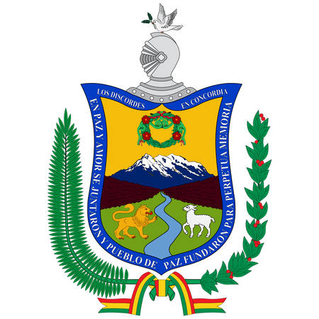 Coat of arms of La Paz in Aymara, is the seat of government and the de facto national capital of the Plurinational State of Bolivia. Vector illustration Banque d'images - 134948267