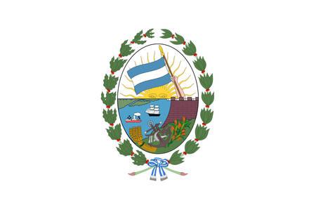 Flag of Rosario est la plus grande ville de la province centrale de Santa Fe en Argentine. Illustration vectorielle Vecteurs