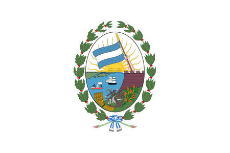 Flag of Rosario is the largest city in the central Argentina province of Santa Fe. Vector illustration Banque d'images - 134948277