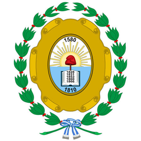 Coat of arms of Santa Fe de la Vera Cruz is the capital city of the province of Santa Fe, Argentina. Vector illustration Banque d'images - 134948279
