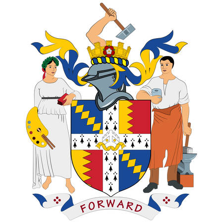 Coat of arms of Birmingham is a major city in the West Midlands, England and is the second-largest city and metropolitan area in England and the United Kingdom. Vector illustration Banque d'images - 134948286