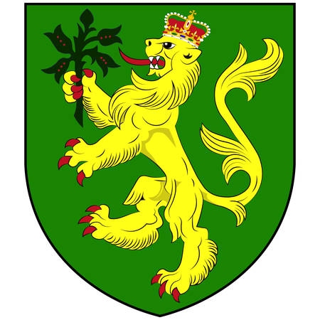 Coat of arms of Alderney is the northernmost of the inhabited Channel Islands of the United Kingdom. Vector illustration Banque d'images - 134948289