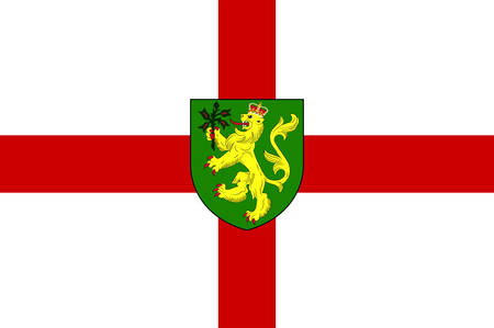 Flag of Alderney is the northernmost of the inhabited Channel Islands of the United Kingdom. Vector illustration Banque d'images - 134948290