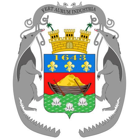 El escudo de armas de la Guayana Francesa es un departamento y una región de ultramar de Francia, ubicado en la costa atlántica norte de América del Sur en las Guyanas. Ilustración vectorial