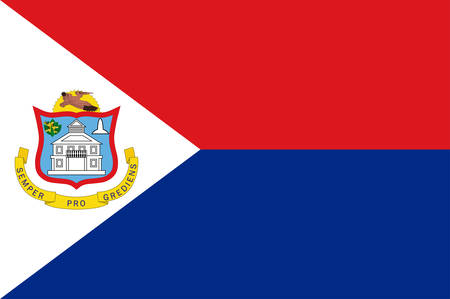 Flag of Sint Maarten is a constituent country of the Kingdom of the Netherlands in the Caribbean. Vector illustration Banque d'images - 134948328