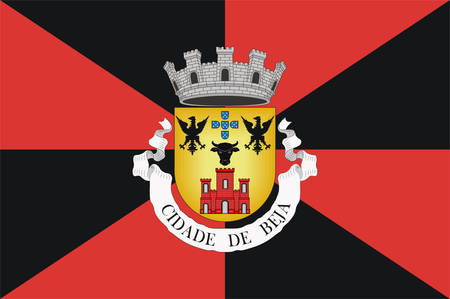 Flag of Beja is a city and a municipality in the Alentejo region, Portugal. Vector illustration Banque d'images - 134948331