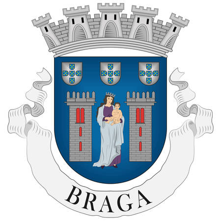 Coat of arms of Braga is a city and a municipality in the northwestern Portuguese district of Braga, in the historical and cultural Minho Province. Vector illustration