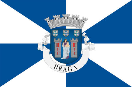 Flag of Braga is a city and a municipality in the northwestern Portuguese district of Braga, in the historical and cultural Minho Province. Vector illustration Banque d'images - 134948333