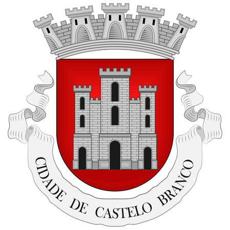 Coat of arms of Castelo Branco is a municipality and former bishopric in Castelo Branco District, in Centro Region, Portugal. Vector illustration Banque d'images - 134948334