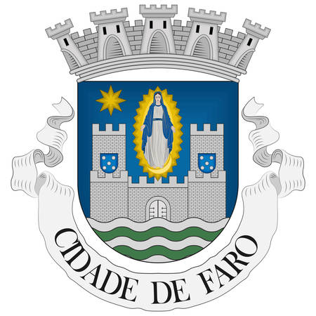 Coat of arms of Faro is a municipality and bishopric, the southernmost city and seat of the district of the same name, in the Algarve region of southern Portugal. Vector illustration Banque d'images - 134948340