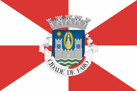 Flag of Faro is a municipality and bishopric, the southernmost city and seat of the district of the same name, in the Algarve region of southern Portugal. Vector illustration Banque d'images - 134948341