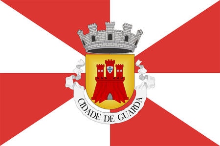Flag of Guarda is a city and a municipality in Guarda District, Beira Interior Norte sub-region in Centro Region in Portugal. Vector illustration Banque d'images - 134948344