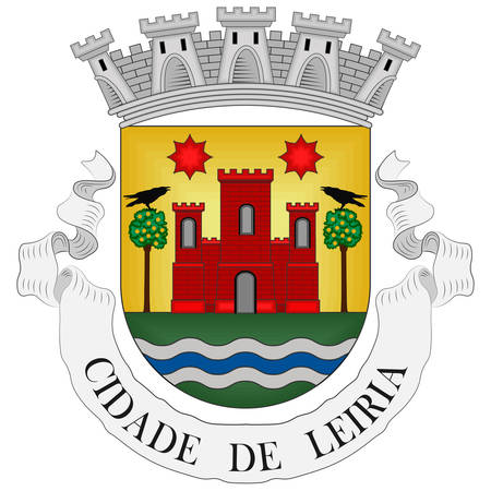 Flag of Leiria is a city and a municipality in the Centro Region of Portugal and in the historical province of Beira Litoral. It is the capital of Leiria District. Vector illustration Banque d'images - 134948345