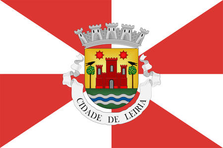 Flag of Leiria is a city and a municipality in the Centro Region of Portugal and in the historical province of Beira Litoral. It is the capital of Leiria District. Vector illustration