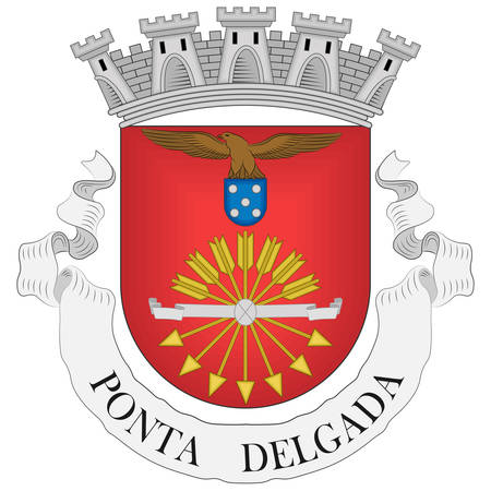 Coat of arms of Ponta Delgada is the largest municipality and economic capital of the Autonomous Region of the Azores in Portugal. Vector illustration Banque d'images - 134948348