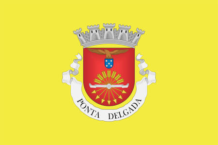 Flag of Ponta Delgada is the largest municipality and economic capital of the Autonomous Region of the Azores in Portugal. Vector illustration Banque d'images - 134948349
