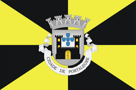 Flag of Portalegre is a municipality in Portugal.. Vector illustration