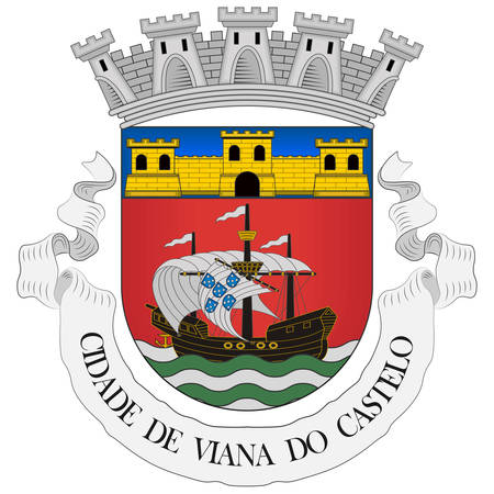 Coat of arms of Viana do Castelo is a municipality and seat of the district of Viana do Castelo in the Norte Region of Portugal. Vector illustration