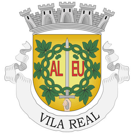 Coat of arms of Vila Real is the capital and largest city of the Vila Real District, northern Portugal. Vector illustration