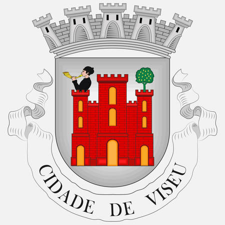 Coat of arms of Viseu is a city and municipality in the Centro Region of Portugal and the capital of the Viseu District. Vector illustration