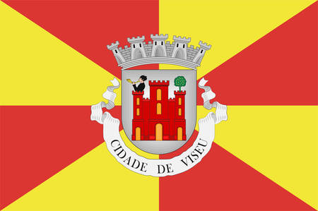 Flag of Viseu is a city and municipality in the Centro Region of Portugal and the capital of the Viseu District. Vector illustration