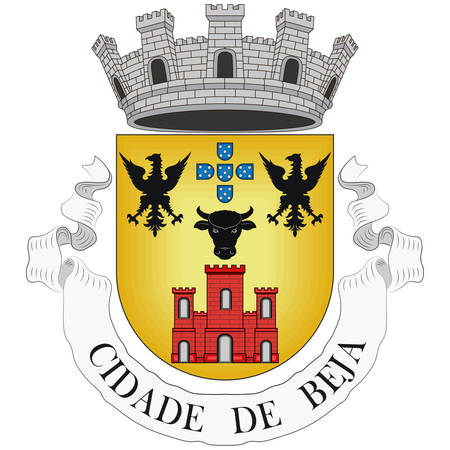 Coat of arms of Beja is a city and a municipality in the Alentejo region, Portugal. Vector illustration