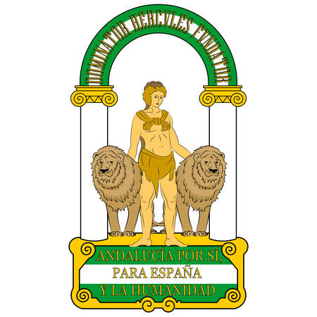 Coat of arms of Andalusia is an autonomous community in southern Spain. Vector illustration