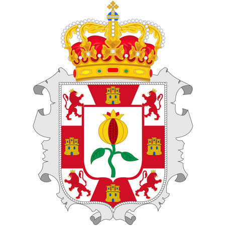 Coat of arms of Granada is a province of southern Spain, in the eastern part of the autonomous community of Andalusia. Vector illustration 向量圖像