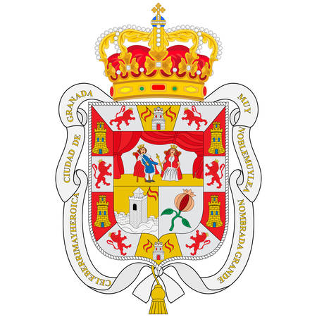 Coat of arms of Granada is the capital city of the province of Granada, in the autonomous community of Andalusia, Spain. Vector illustration