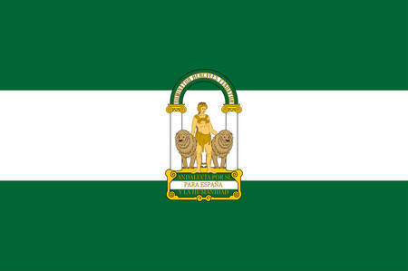 Flag of Andalusia is an autonomous community in southern Spain. Vector illustration