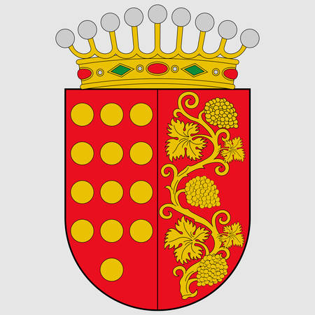 Coat of arms of region Anyana is one of the seven regions of the province of Alava of Spain and a historical territory of the Basque Country. Vector illustration 向量圖像
