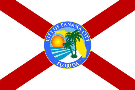 Flag of Panama City is a city and the county seat of Bay County, Florida, United States. Vector illustration